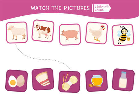 Matching children educational game. Match pictures. Activity for pre sсhool years kids and toddlers. Farm animals.