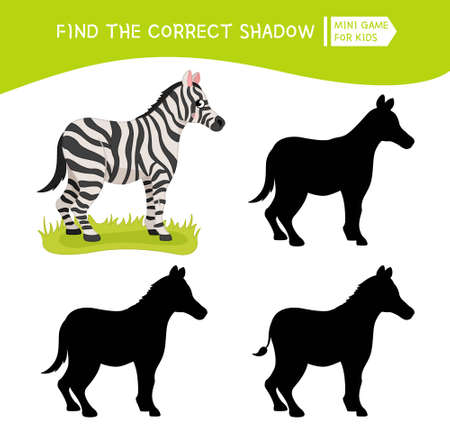 Educational game for children. Find the right shadow. Kids activity with cute zebra. African animals collection. Ilustração