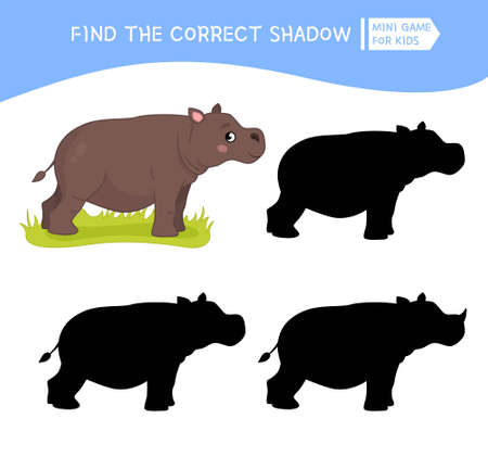 Educational game for children. Find the right shadow. Kids activity with cute hippo. African animals collection.