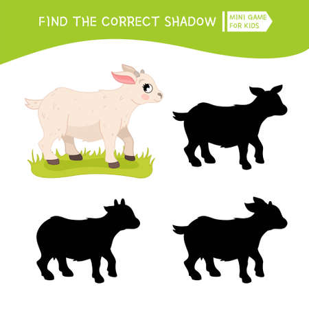 Educational game for children. Find the right shadow. Kids activity with cute cartoon goat. Farm animals collection.