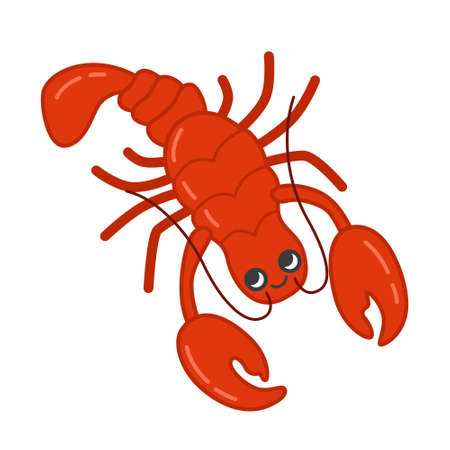 Collection of marine animals in cartoon style. Vector illustration of lobster. Ilustração