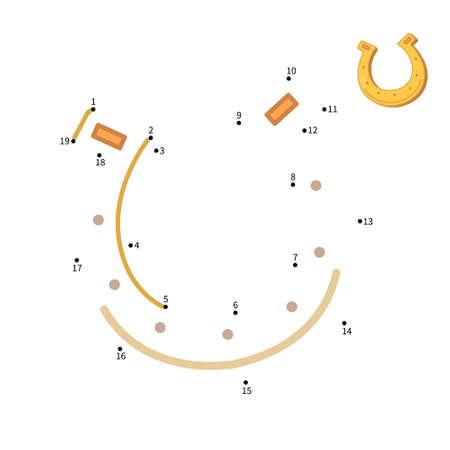 Educational game for kids. Dot to dot game for children. Cartoon horseshoe.