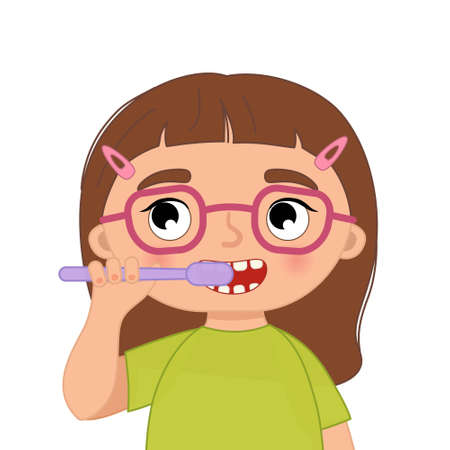 Cute girl brushing her teeth. Vector illustration in cartoon style.