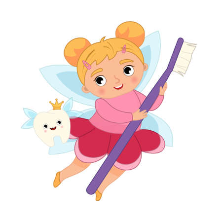 Tooth fairy vector cartoon illustration. Cute girl with wings and magic wand. Ilustração