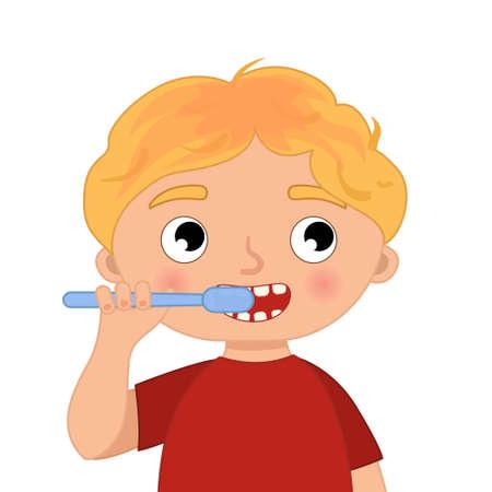 Cute boy brushing her teeth. Vector illustration in cartoon style. 矢量图像