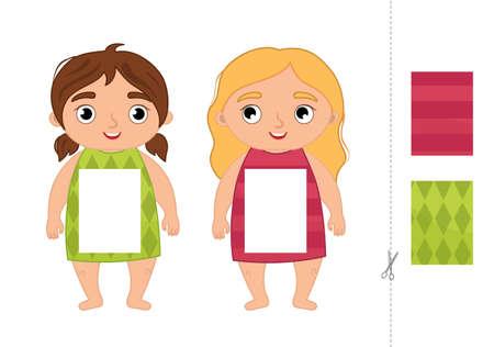 Education paper game for preshool children. Vector illustration of cute girls.