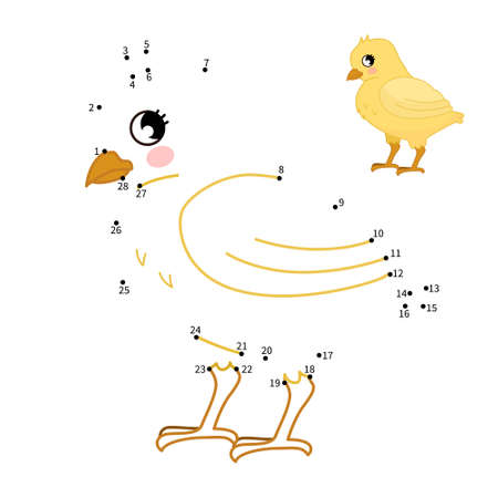 Educational game for kids. Dot to dot game for children. Cartoon cute chick.