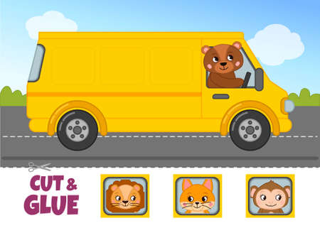 Education paper game for preshool children. Vector illustration the bus carries animals.