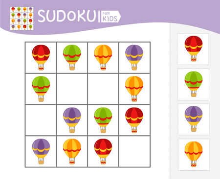 Sudoku game for children with pictures. Kids activity sheet. 矢量图像