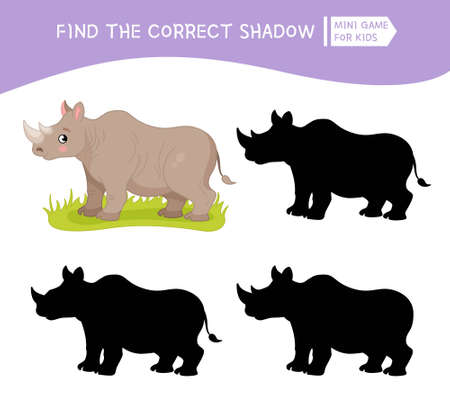 Educational game for children. Find the right shadow. Kids activity with cute rhinoceros. African animals collection.