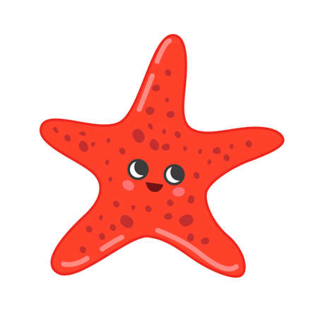 Collection of marine animals in cartoon style. Vector illustration of starfish.