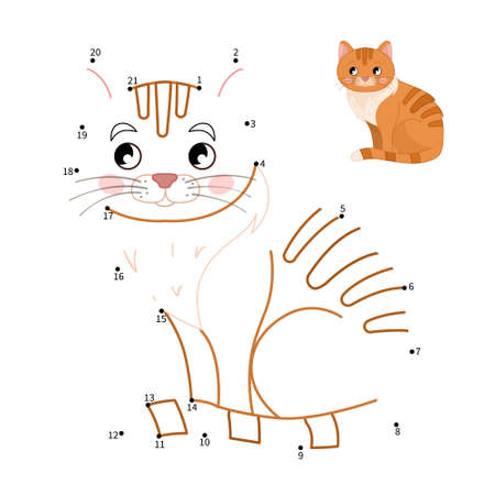 Educational game for kids. Dot to dot game for children. Cartoon cute cat.