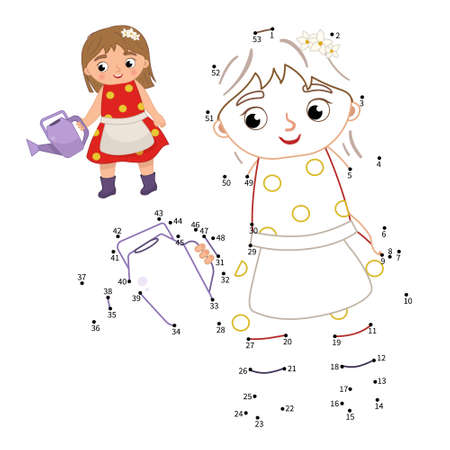 Educational game for kids. Dot to dot game for children. Illustration of cute girl with watering can. 矢量图像