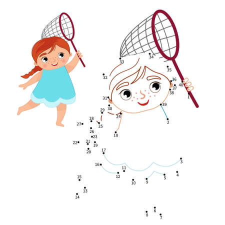 Educational game for kids. Dot to dot game for children. Illustration of cute girl with a butterfly net. 矢量图像