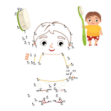 Educational game for kids. Dot to dot game for children. Illustration of cute boy holding a toothbrush. 矢量图像
