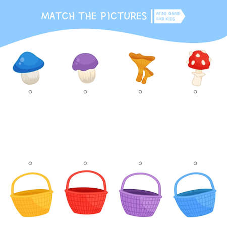 Matching children educational game. Activity for pre sсhool years kids and toddlers. Place the mushrooms in a basket of the same color