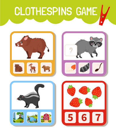 Educational game for children. Toddler Activity Clothespins Cards. Forest animals collection.