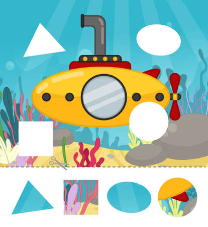 Education paper game for preshool children. Cut out the parts and glue in the right place. Illustration of submarine at sea.