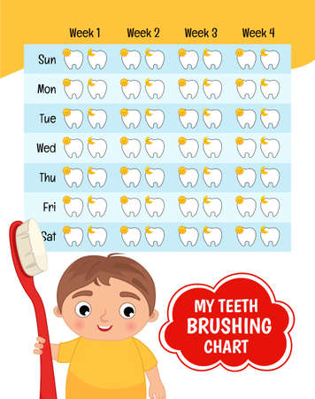 Teeth brushing chart. Protection teeth concept. Vector illustration of a cute boy with a toothbrush in his hands. 矢量图像