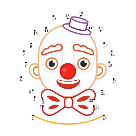 Educational game for kids. Dot to dot game for children. Illustration of cute clown.