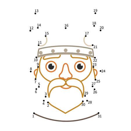 Educational game for kids. Dot to dot game for children. Illustration of cute cartoon viking.