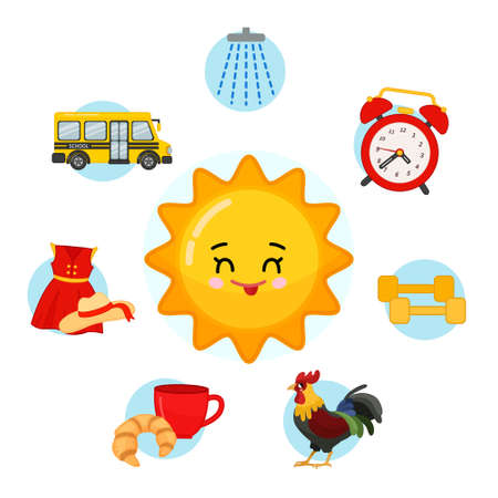 Vector set of day icons. Cartoon cute symbol of morning. Illustration cartoon sun. 矢量图像