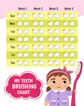 Teeth brushing chart. Protection teeth concept. Vector illustration of a cute girl with a toothbrush in her hands. 矢量图像