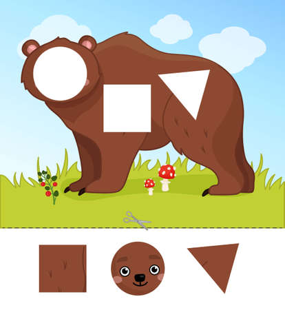 Education paper game for preshool children. Cut out the parts and glue in the right place. Illustration of cute bear.