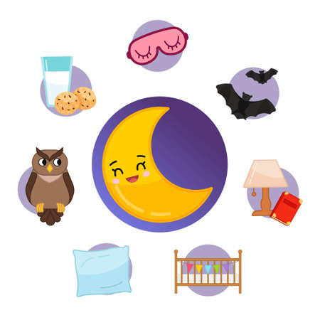 Vector set of night icons. Cartoon cute symbol of night. Illustration cartoon moon.