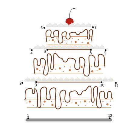 Educational game for kids. Dot to dot game for children. Illustration of cake. 矢量图像