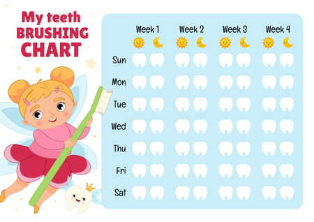 Teeth brushing chart. Protection teeth concept. Vector illustration of a cute tooth fairy with a toothbrush in his hands. 矢量图像