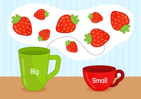 Matching children educational game. Activity for pre sсhool years kids and toddlers. Arrange the berries in mugs by size. 矢量图像