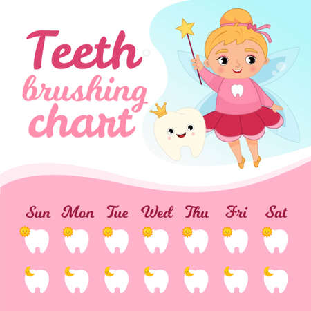 Teeth brushing chart. Protection teeth concept. Vector illustration of a cute tooth fairy.