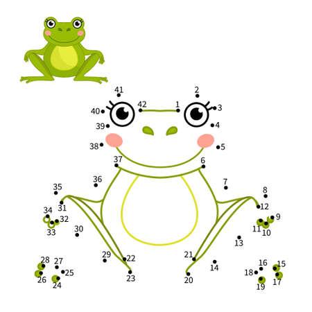 Educational game for kids. Dot to dot game for children. Illustration of cute frog