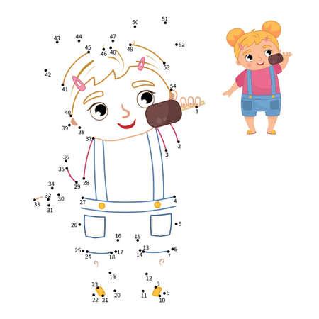 Educational game for kids. Dot to dot game for children. Illustration of cute girl eating ice cream.