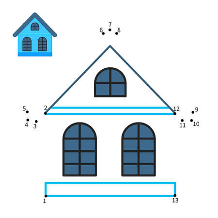 Educational game for kids. Dot to dot game for children. Illustration of blue cartoon house.