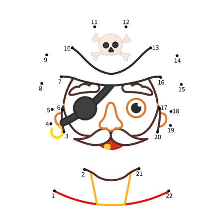 Educational game for kids. Dot to dot game for children. Illustration of cute pirate.