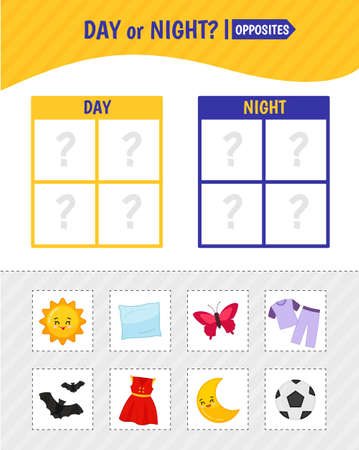 Matching children educational game. Match pictures according to day and night. Activity for pre sсhool years kids and toddlers.