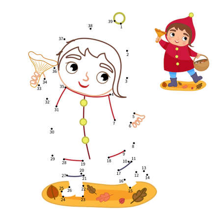 Educational game for kids. Dot to dot game for children. Illustration of cute girl with a basket of mushrooms