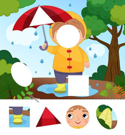 Education paper game for preshool children. Cut out the parts and glue in the right place. Illustration of cute boy with umbrella in the garden.