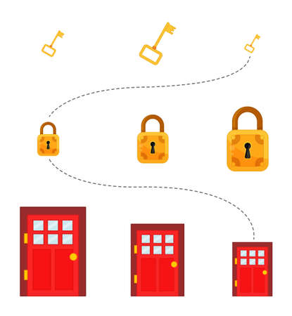 Matching children educational game. Match key, lock and door by size. Activity for pre sсhool years kids and toddlers.