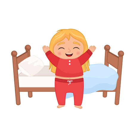 Vector illustration of a cute little girl gets out of bed in the morning Vecteurs