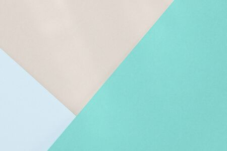 Green blue beige paper background. Geometric figures, shapes. Abstract geometric flat composition.