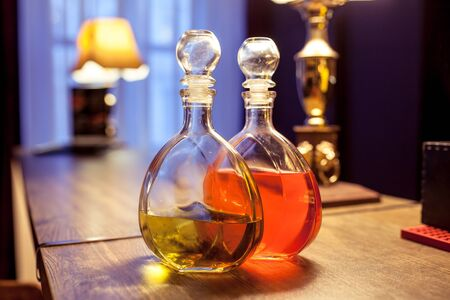 decanter with liquior in a bar