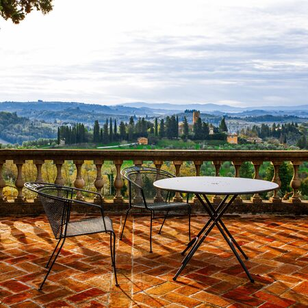 view at Tuscany hill from terrase Stockfoto