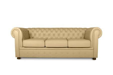 leather chester beige sofa isolated on white Zdjęcie Seryjne