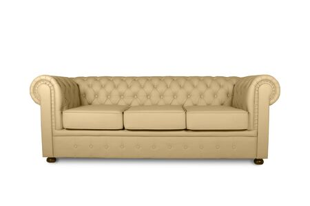 leather chester beige sofa isolated on white Stockfoto