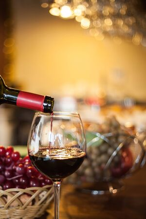 glasses of red wine in restaurant