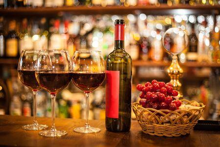 Red wine. Glass of wine. Bottle.