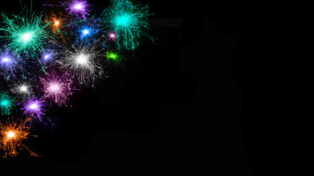 Wide angle Beautiful fireworks background. Frame of many multicolored fireworks isolated on black background. Template for design: Christmas, New Year, Anniversary, Birthday Stockfoto